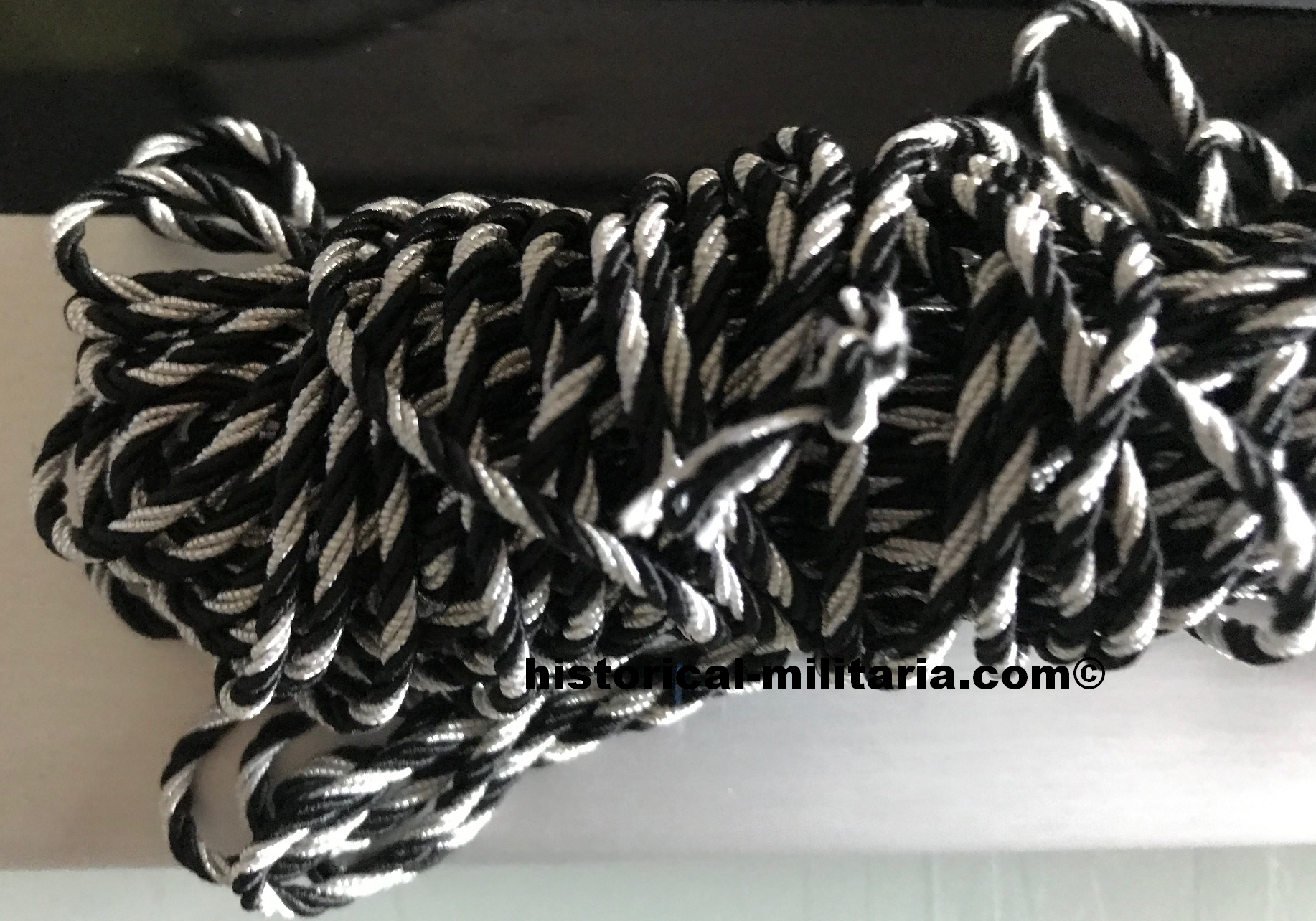 Twisted piping cord silver black for tunic or collar 2.0mm - Uniformkordel schwarz silberfarben gedreht 2mm - 1 Meter Länge