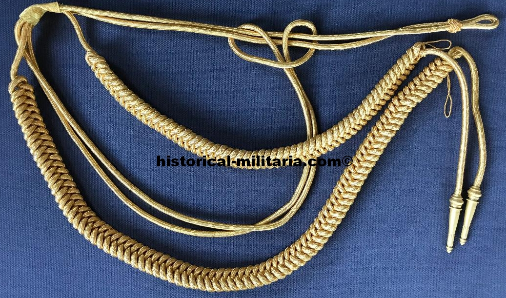 Fangschnur für Generäle Achselschnur schwere Ausführung in Metallfaden dunkleres gold - Aiguillette for German Generals in darker golden bullion cords - Cordone da Generale dell'esercito tedesco