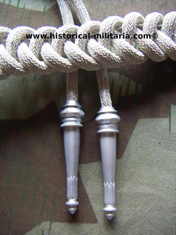 Fangschnur für Adjudanten der Wehrmacht - German Army ADJUDANT'S Aiguillette in matte aluminium bullion wire cords - Cordone da Adjudente dell'esercito tedesco
