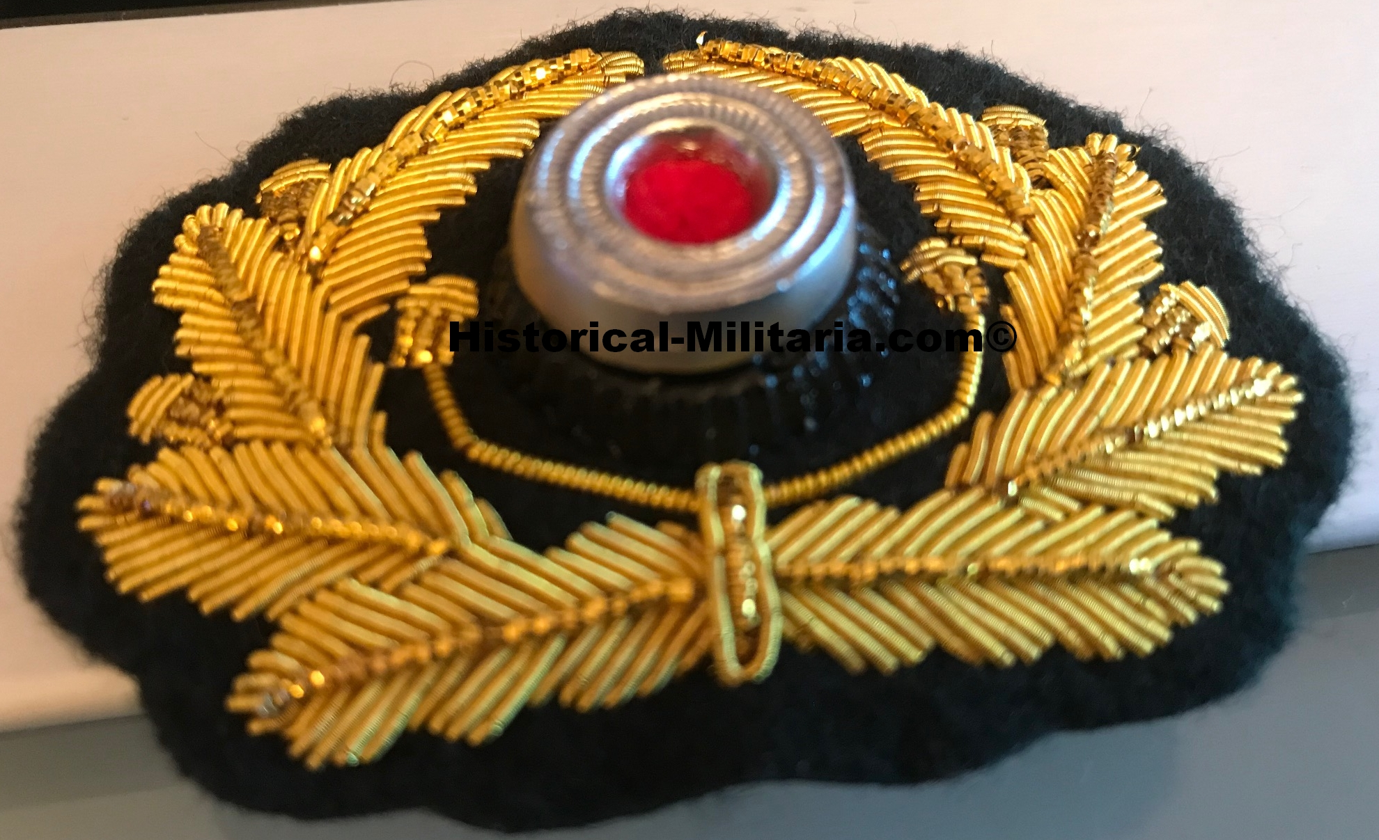 German Wehrmacht General Visor cap wreath set with matching eagle on dark green backing - Mützenkranz Set Wehrmacht General - Fregio e Aquila da Generale dell'esercito tedesco